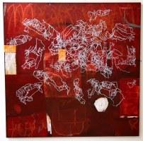 La marelle - 100x100 cm – technique mixte